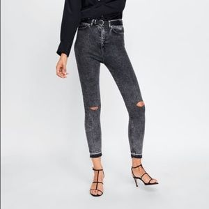 Zara premium 80s high waisted jeans in snow black